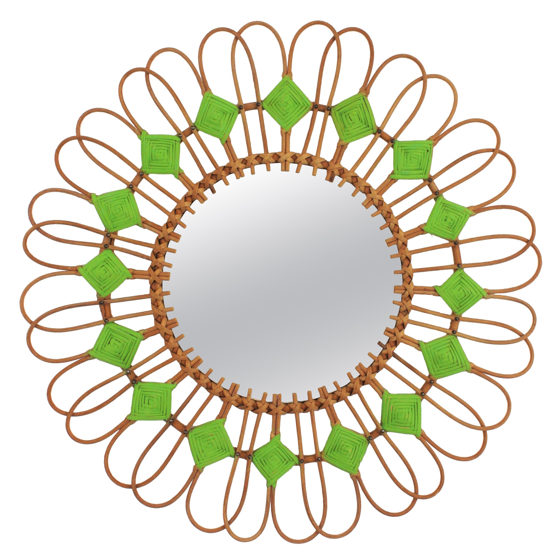 Rattan Sunburst Flower Mirror with Green Accents, 1950s