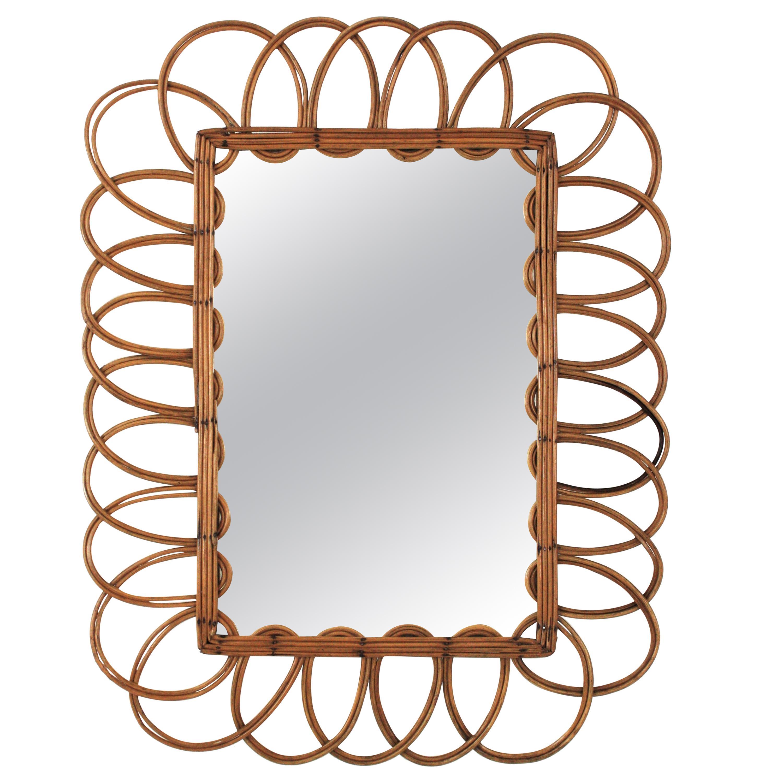 Rattan Sunburst Flower Rectangular Mirror, French Mediterranean Style, 1960s