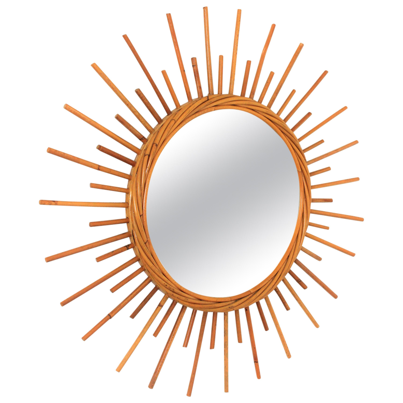 Rattan Sunburst Mirror from the French Riviera, 1960s