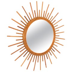 Rattan Sunburst Mirror from the French Riviera, 1960s