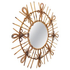 Rattan Sunburst Mirror with Chinoiserie or Tiki Accents, Spain, 1950s