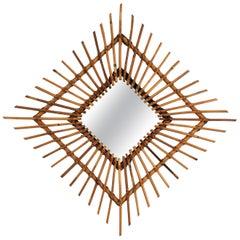Rattan Sunburst Rhombus Mirror, 1960s