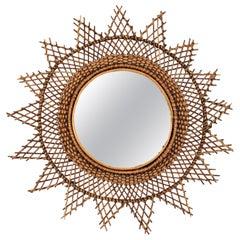 Rattan Sunburst Starburst Mirror with Wire Grid Frame