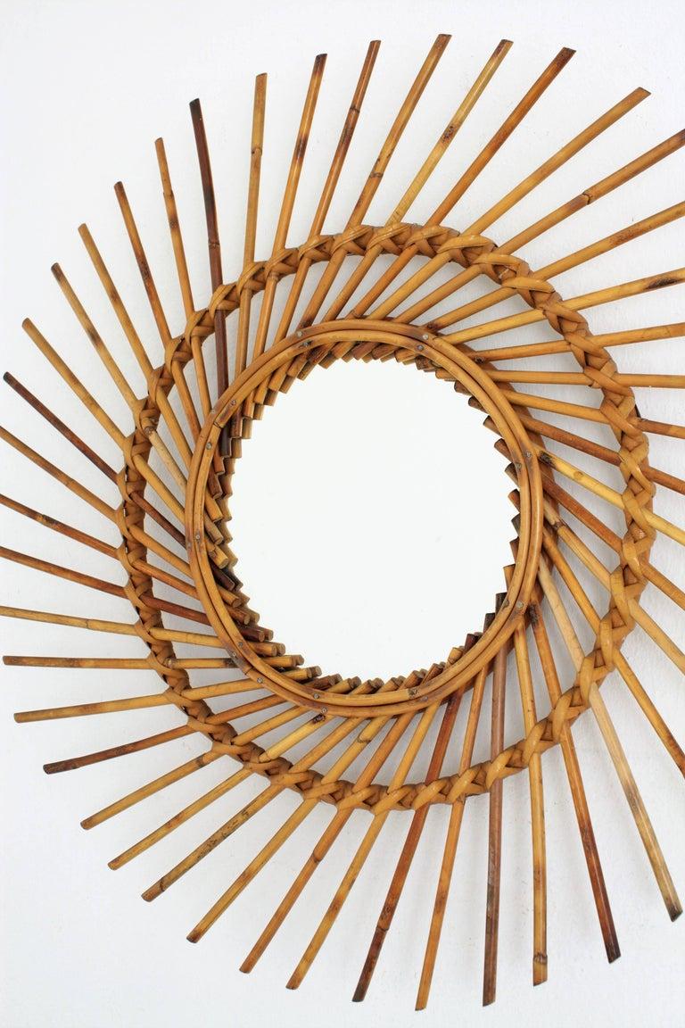 Mid-Century Modern Rattan Sunburst Twisted Mirror, 1960s For Sale
