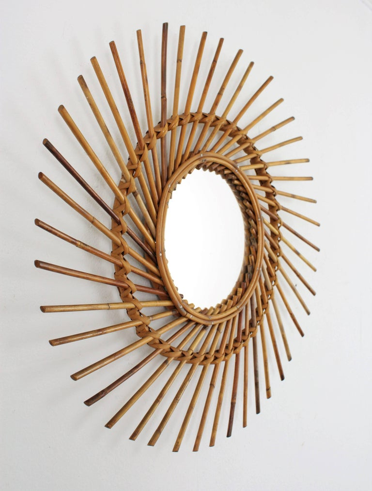 Hand-Crafted Rattan Sunburst Twisted Mirror, 1960s For Sale