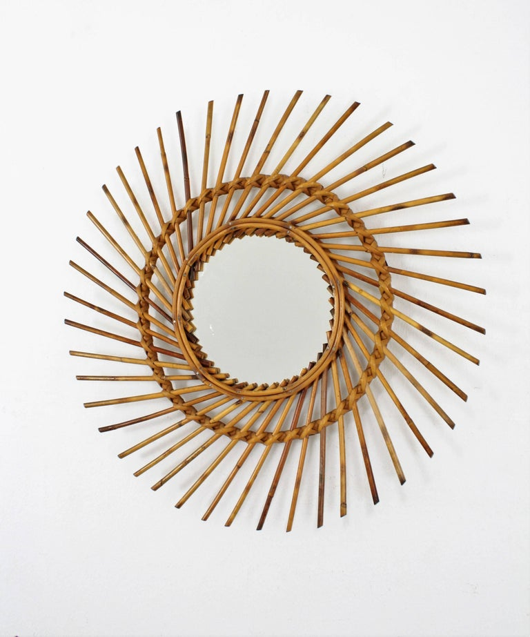 Rattan Sunburst Twisted Mirror, 1960s In Good Condition For Sale In Barcelona, ES