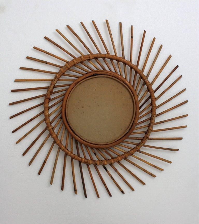 Wicker Rattan Sunburst Twisted Mirror, 1960s For Sale