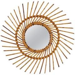 Rattan Sunburst Twisted Mirror, 1960s