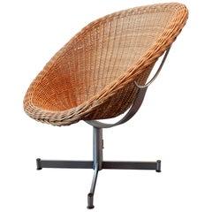 Rattan Swivel Chair by Dirk Van Sliedregt for Gebroeders Jonkers, 1960s