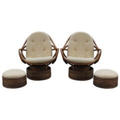 Rattan Swivel Rocking Lounge Chair with Ottomans