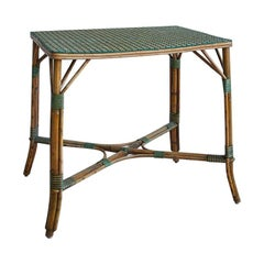 Rattan Table with White and Green Woven Details