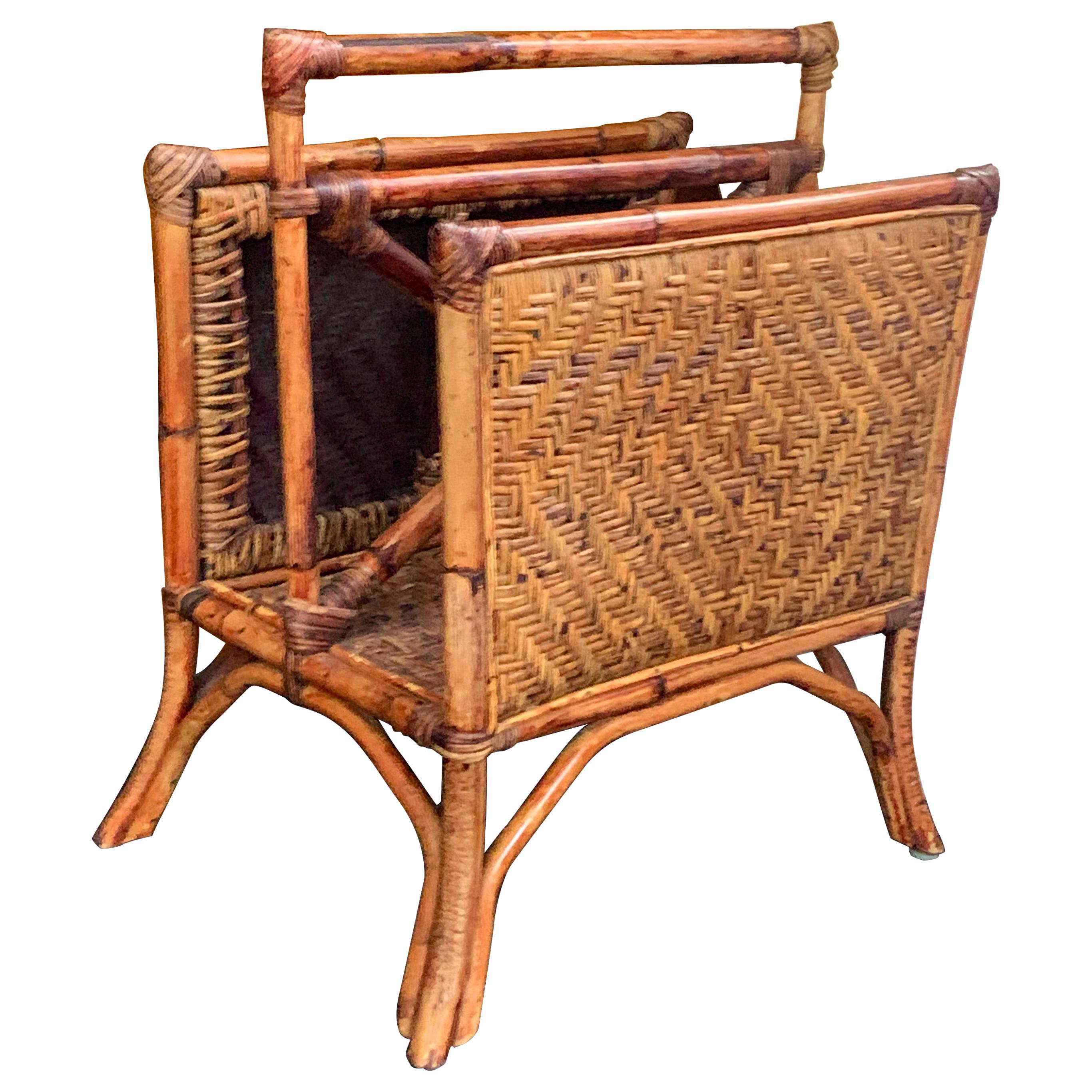 Rattan Two Section Magazine Rack with Handle