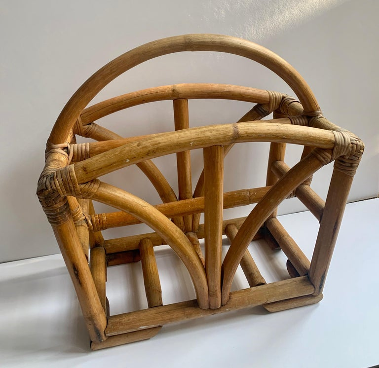 Rattan two sided magazine rack, a handsome two sided magazine rack for any room and particularly wonderful in sun rooms or casual dens, lake houses.