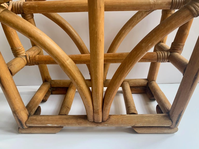 20th Century Rattan Two Sided Magazine Rack For Sale
