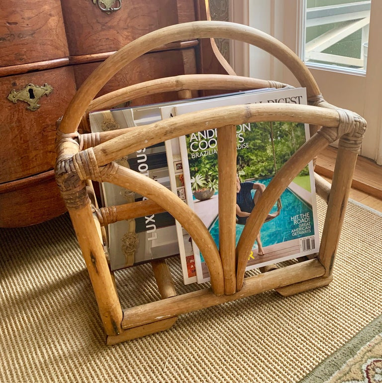 Rattan Two Sided Magazine Rack For Sale 1