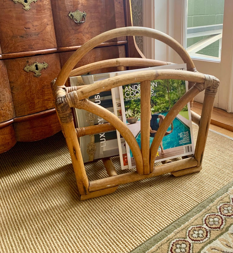 Rattan Two Sided Magazine Rack For Sale 2