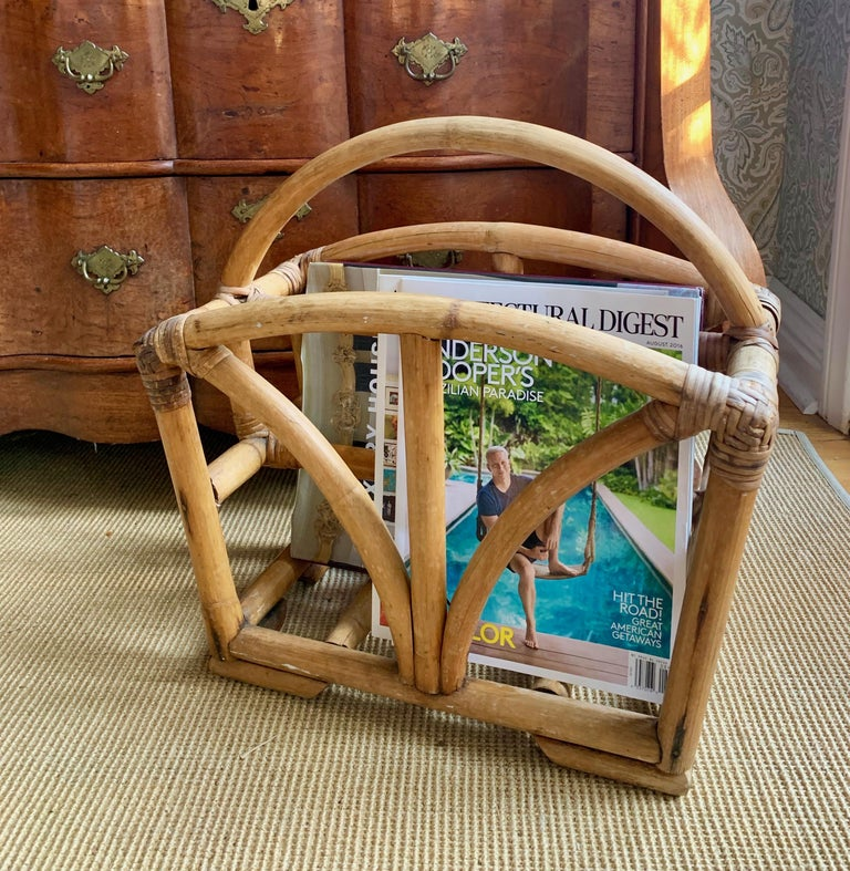 Rattan Two Sided Magazine Rack For Sale 3