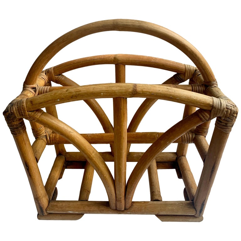 Rattan Two Sided Magazine Rack For Sale