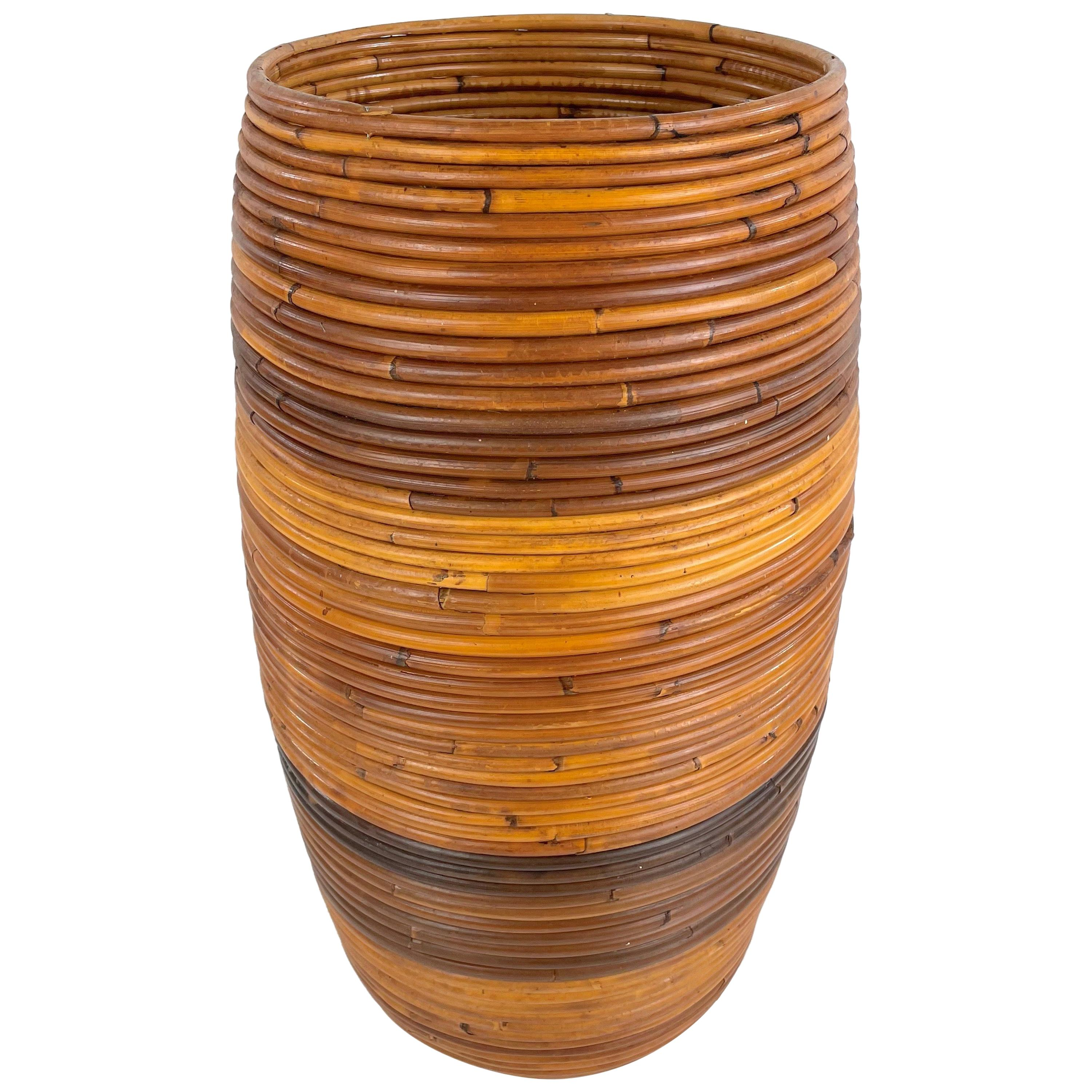 Rattan Umbrella Stand Holder or Basket, Italy, 1960s