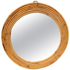 Rattan Vintage Round Wall Mirror Crespi Style, Italy, 1960s