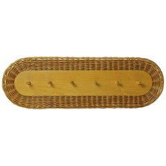 Rattan Wall Coat Rack, Czechoslovakia, 1970s