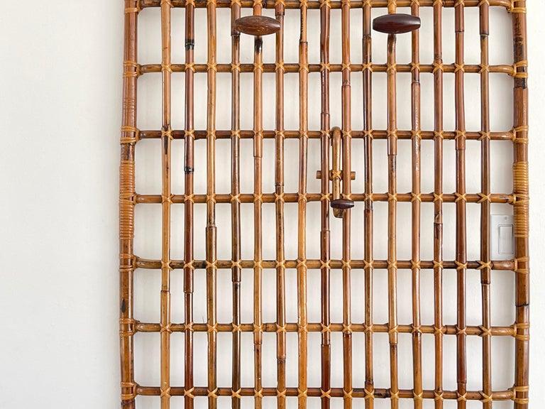 Italian Rattan Wall Coat Rack For Sale