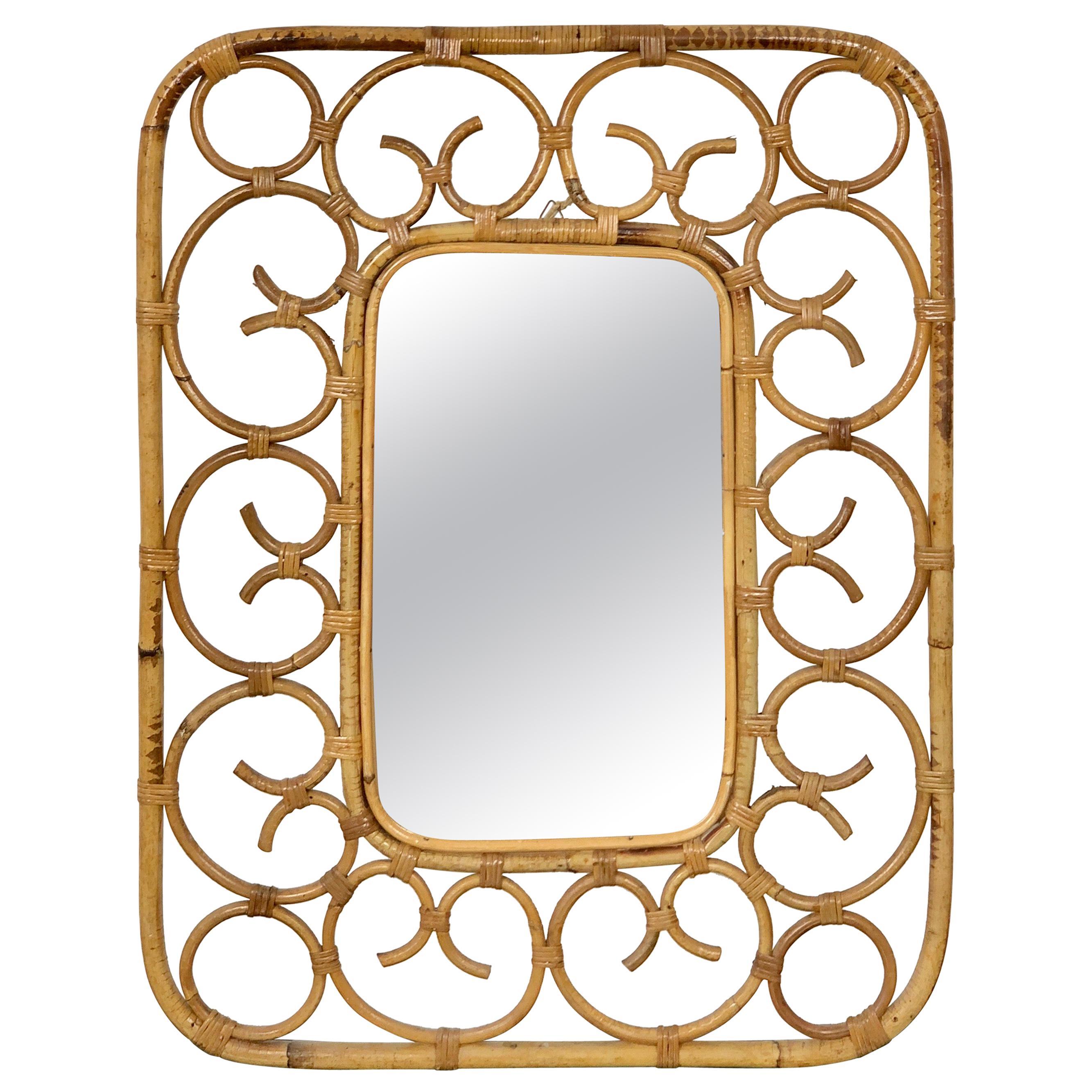 Rattan Wall Mirror in Franco Albini Style, Italy, 1960s