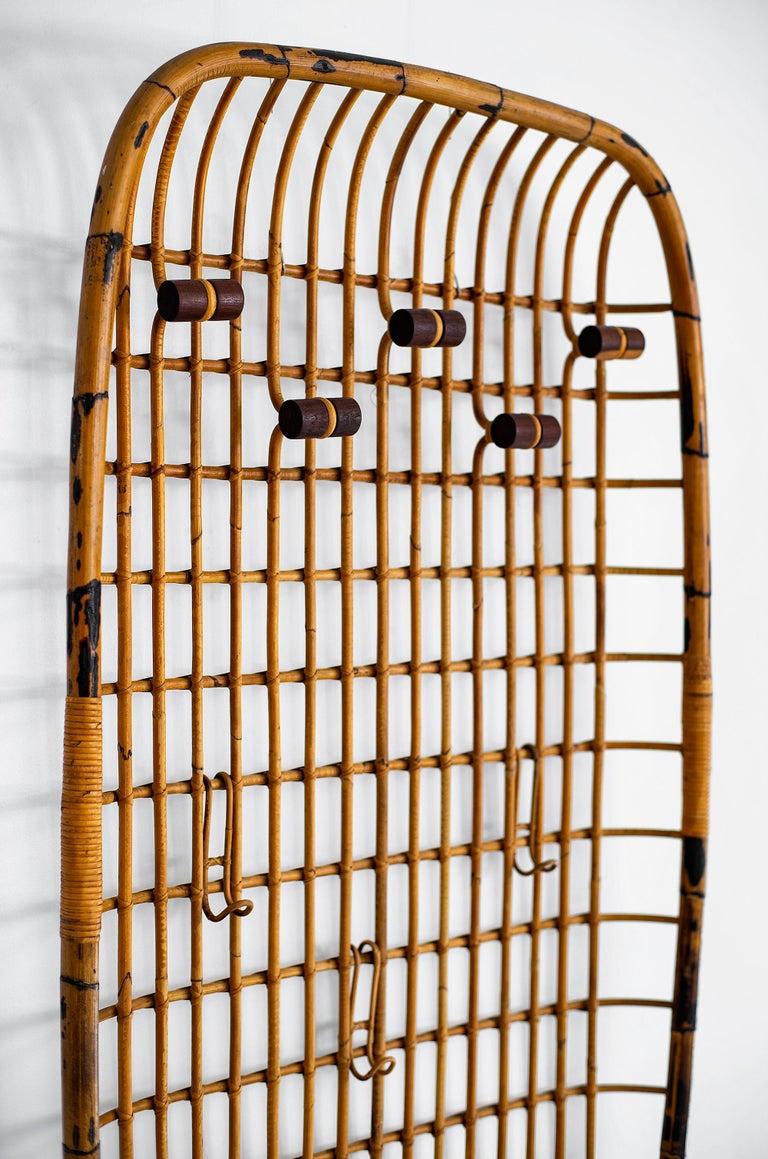Austrian Rattan Wall Rack by Olaf von Bohr For Sale