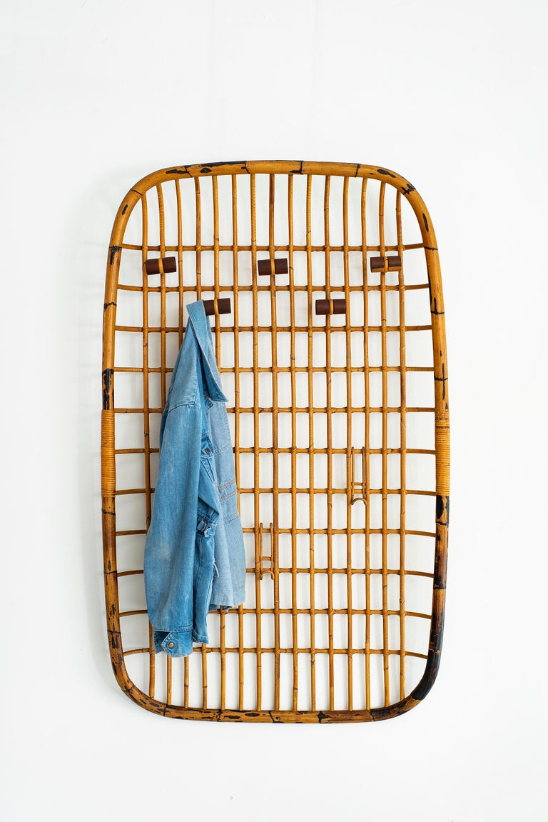 Rattan Wall Rack by Olaf von Bohr In Good Condition For Sale In Los Angeles, CA