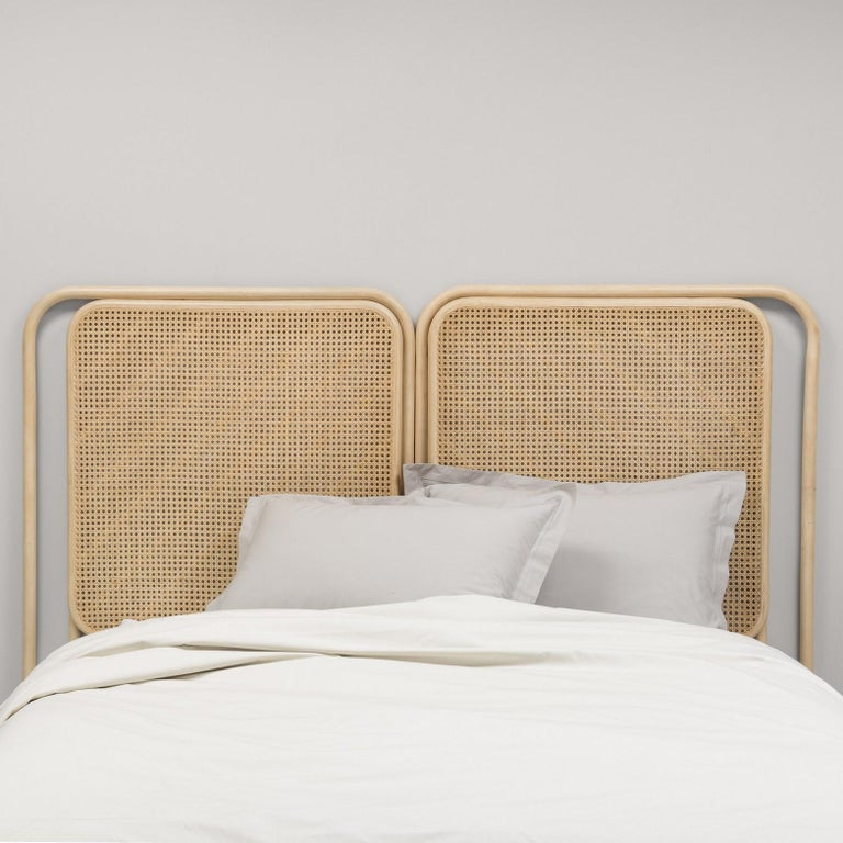 Modern Rattan Wicker and Cane Queen or King Size Headboard For Sale