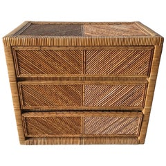 Rattan Wicker Bamboo Reed Dresser or Chest of Drawers