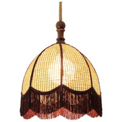 Rattan Wicker Bell Pendant Hanging Lamp with Fringe, Spain, 1970s