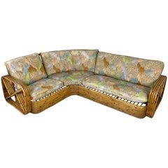 Rattan Wicker Corner Pretzel Sofa Paul Frankl Style, Italy, 1940s