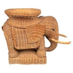 Rattan Wicker Elephant Side Coffee Table, France, 1960s