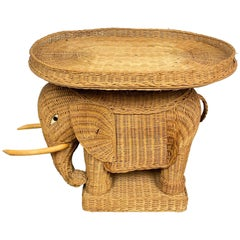 Rattan Wicker Elephant Tray Side Coffee Table, France, 1960s