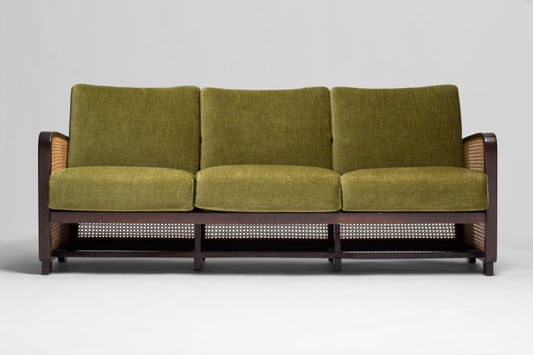 Rattan wicker green mohair sofa loveseat, 1940s-1950s, Europe  Beautiful and classy love seat. Fabric is original. Very good vintage condition with no structural issues or loss to the wicker. Mahogany wood.