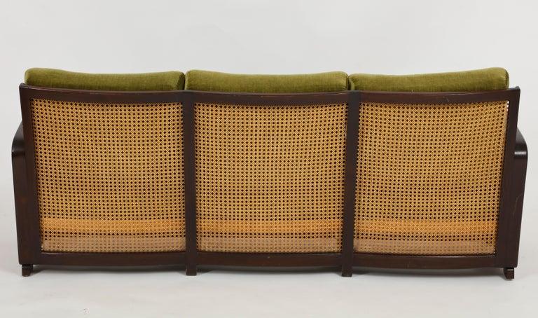 Mid-Century Modern Rattan Wicker Green Mohair Sofa Loveseat, 1940s-1950s, Europe For Sale