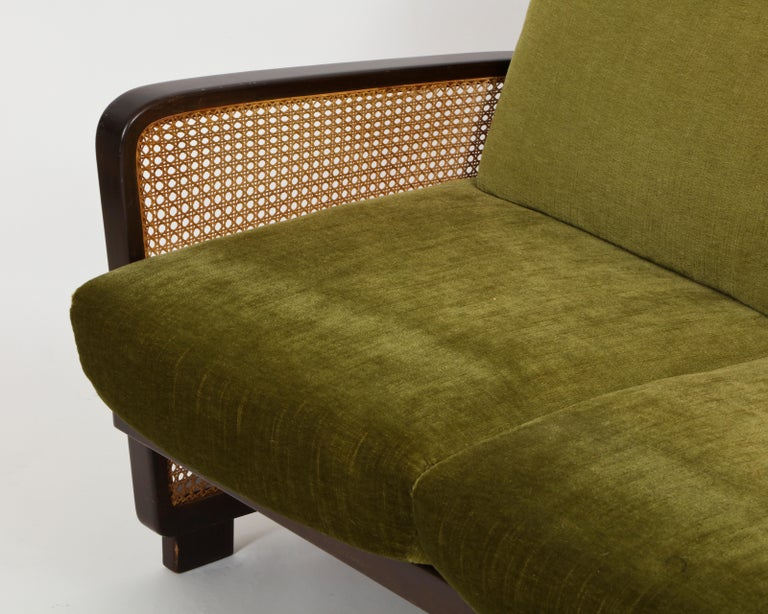 French Rattan Wicker Green Mohair Sofa Loveseat, 1940s-1950s, Europe For Sale