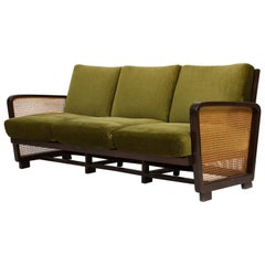 Rattan Wicker Green Mohair Sofa Loveseat, 1940s-1950s, Europe