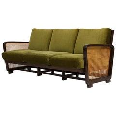 Rattan Wicker Green Mohair Sofa Loveseat, 1940s-1950s, Europe