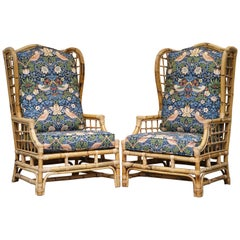 Rattan Wicker Wingback Armchair New William Morris Strawberry Thief Cushions