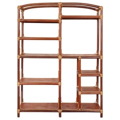 Rattan Wicker Wood Wall Five Tiers Shelf Unit, Stand Storage, Book case, Étagère