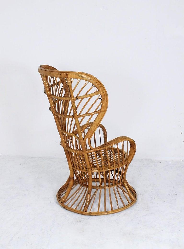 Italian Rattan Wingback Armchair by Lio Carminati for Bonacina, Italy, 1950s For Sale