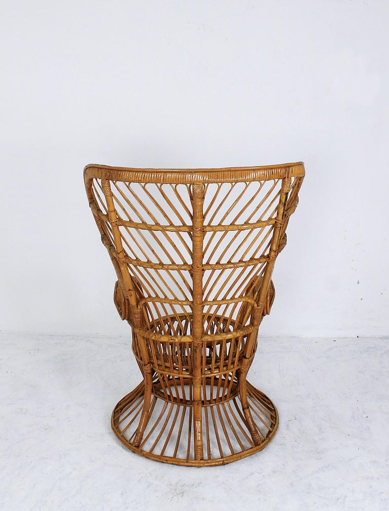 Hand-Crafted Rattan Wingback Armchair by Lio Carminati for Bonacina, Italy, 1950s For Sale
