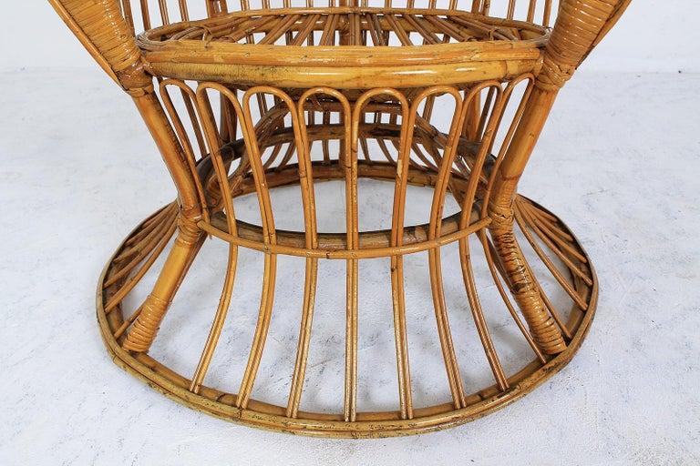 Rattan Wingback Armchair by Lio Carminati for Bonacina, Italy, 1950s For Sale 1