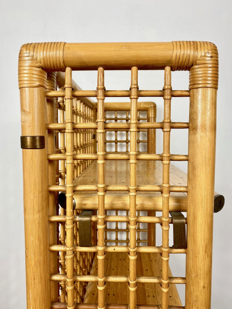 Rattan, Wood and Brass Etagere Bookcase Shelf, Italy, 1960s For Sale 5