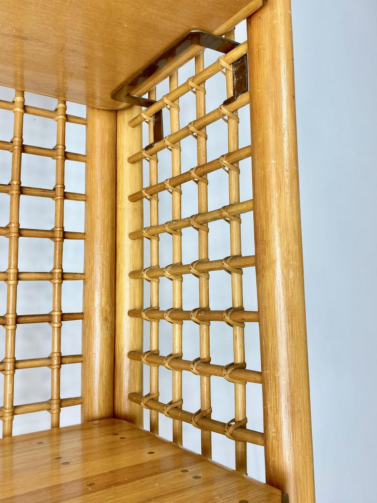 Rattan, Wood and Brass Etagere Bookcase Shelf, Italy, 1960s For Sale 6