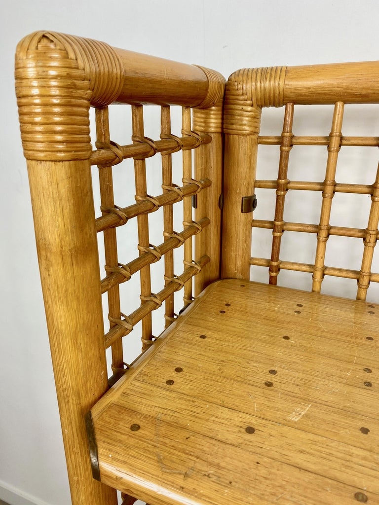 Rattan, Wood and Brass Etagere Bookcase Shelf, Italy, 1960s For Sale 7