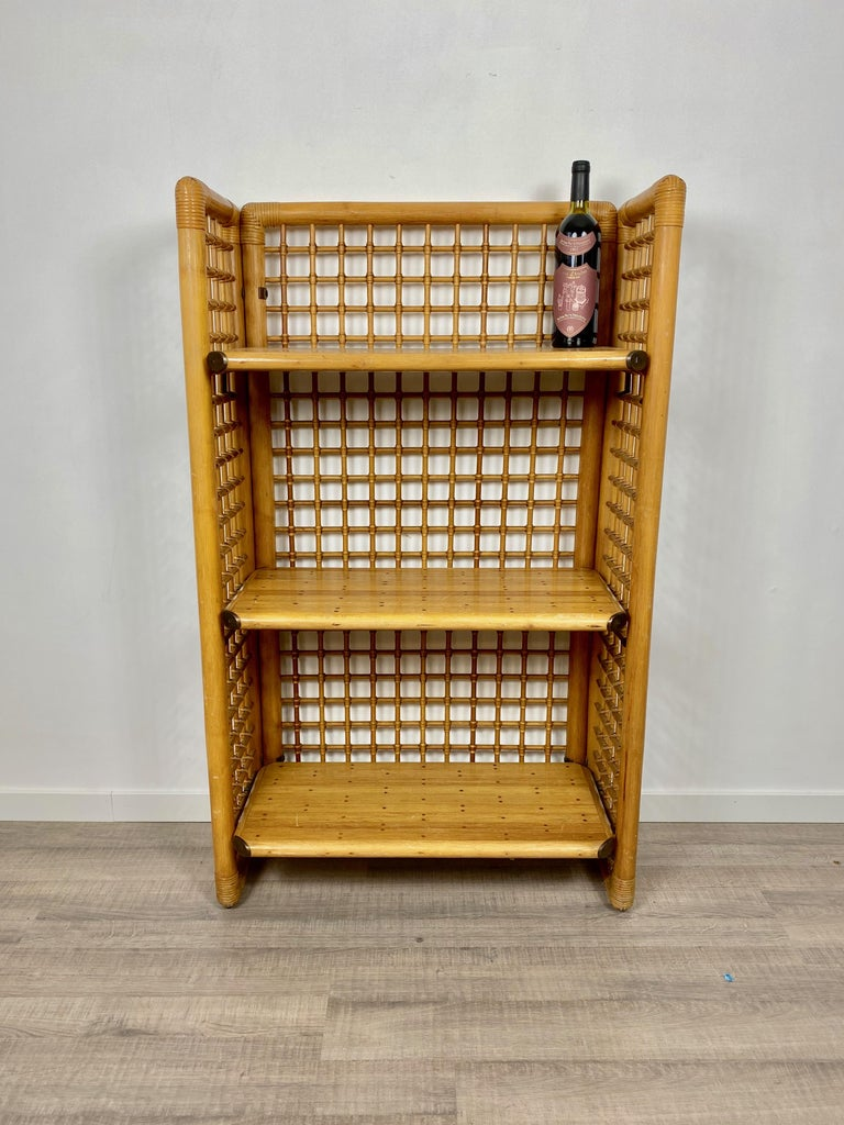 Rattan, Wood and Brass Etagere Bookcase Shelf, Italy, 1960s For Sale 8