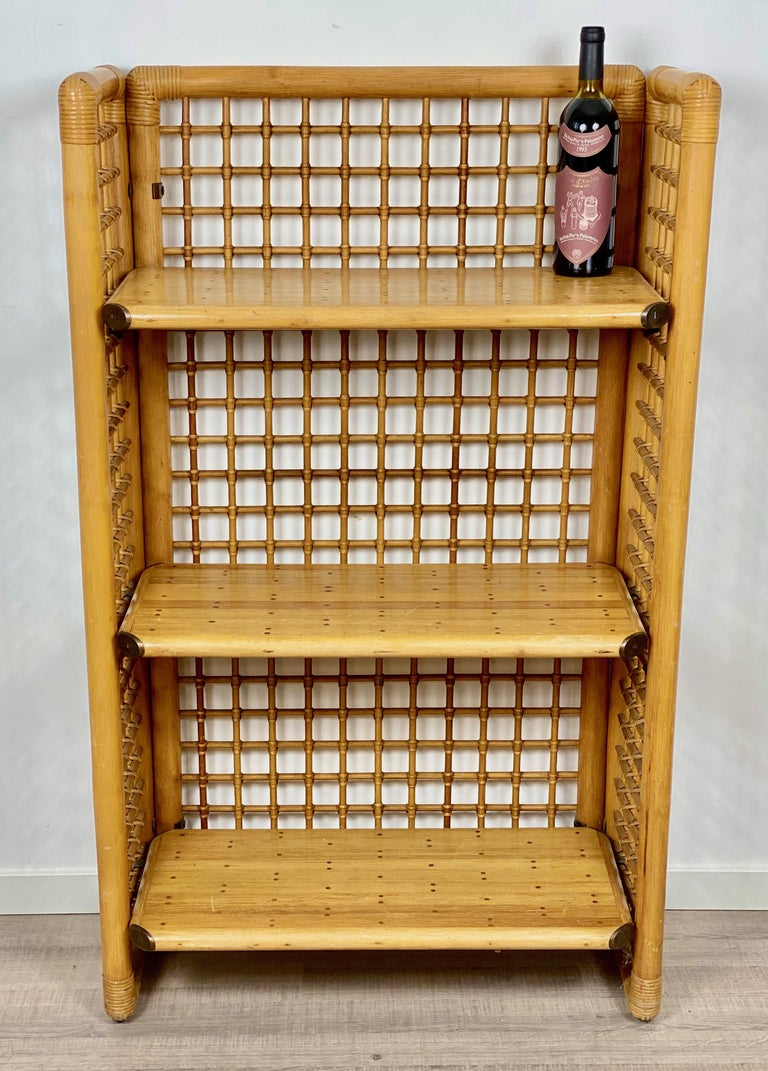 Mid-20th Century Rattan, Wood and Brass Etagere Bookcase Shelf, Italy, 1960s For Sale